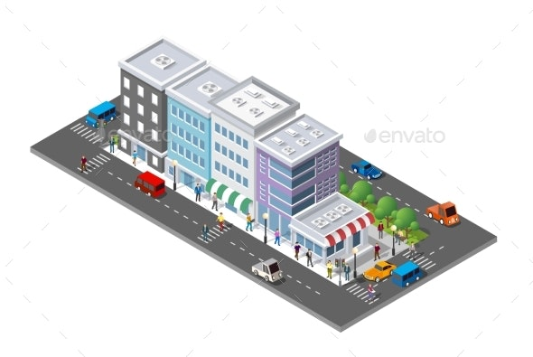 People Walking Around the City - Buildings Objects