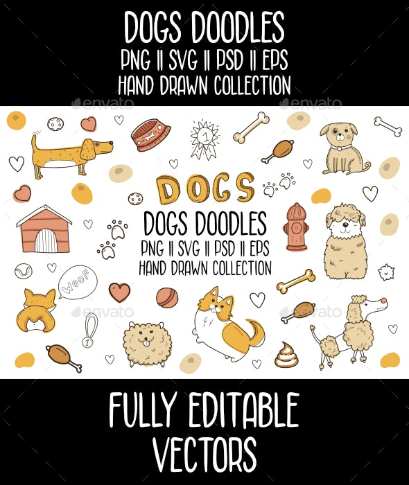 Dogs Doodles Vector Icon Set - Animals Characters