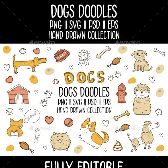 Dogs Doodles Vector Icon Set