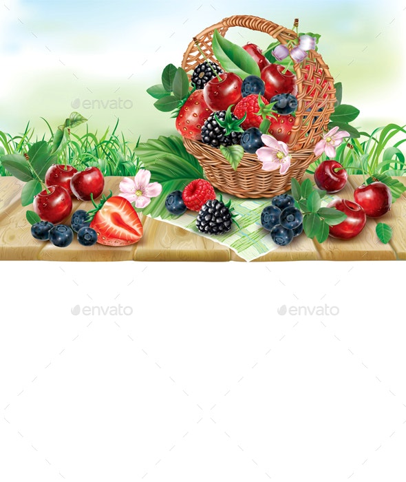 Berries Mix in Basket on a Wooden Surface - Food Objects