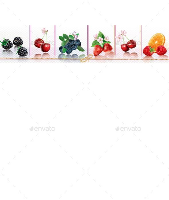 Composition with Berries Places in a Horizontal Line - Food Objects