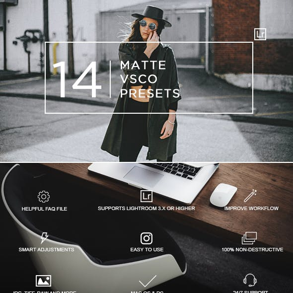 14 Matte + VSCO Lightroom Presets by zvolia
