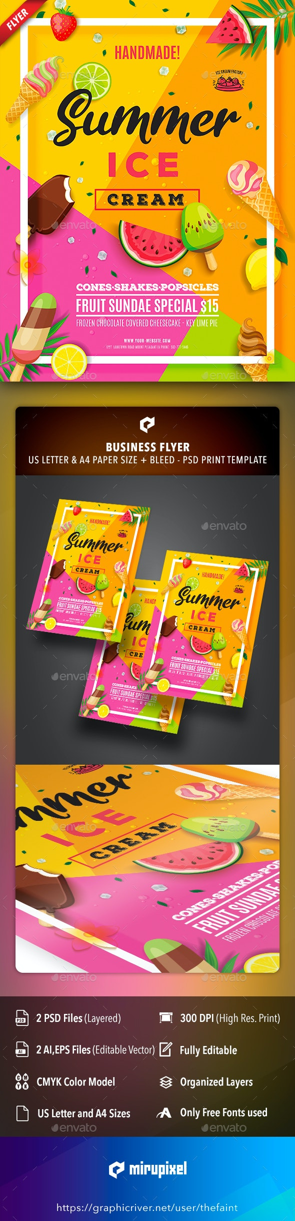 Summer Ice Cream Business Flyer - Commerce Flyers