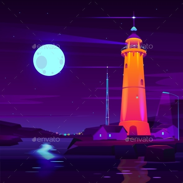 Working Lighthouse on Seashore Cartoon Vector - Landscapes Nature