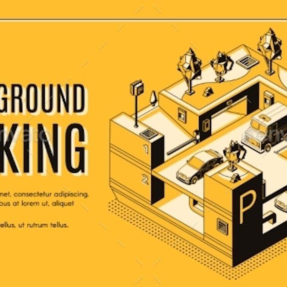 Underground Parking Isometric Vector Website
