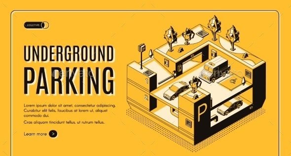 Underground Parking Isometric Vector Website - Buildings Objects