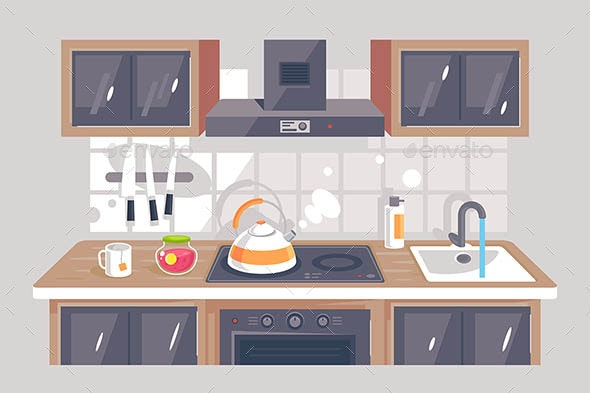 Flat Kitchen Equipment - Man-made Objects Objects
