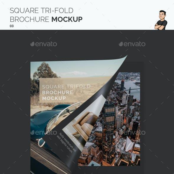 Square Trifold Brochure Mockup 03