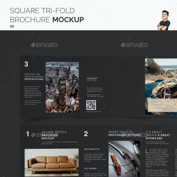 Square Trifold Brochure Mockup 05