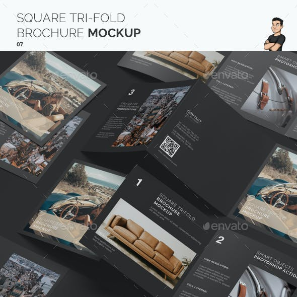 Square Trifold Brochure Mockup 07