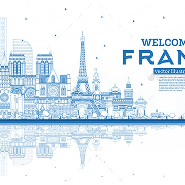 Outline Welcome to France Skyline with Blue Buildings