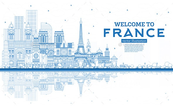 Outline Welcome to France Skyline with Blue Buildings - Buildings Objects