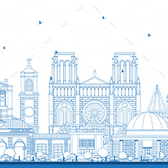 Outline Nice France City Skyline with Blue Buildings