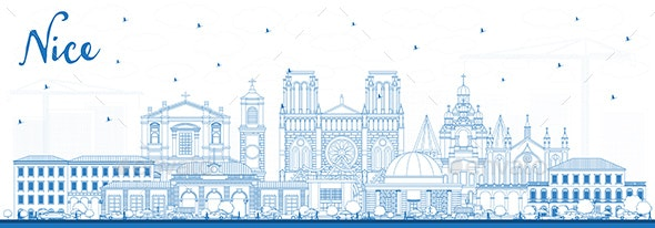 Outline Nice France City Skyline with Blue Buildings - Buildings Objects
