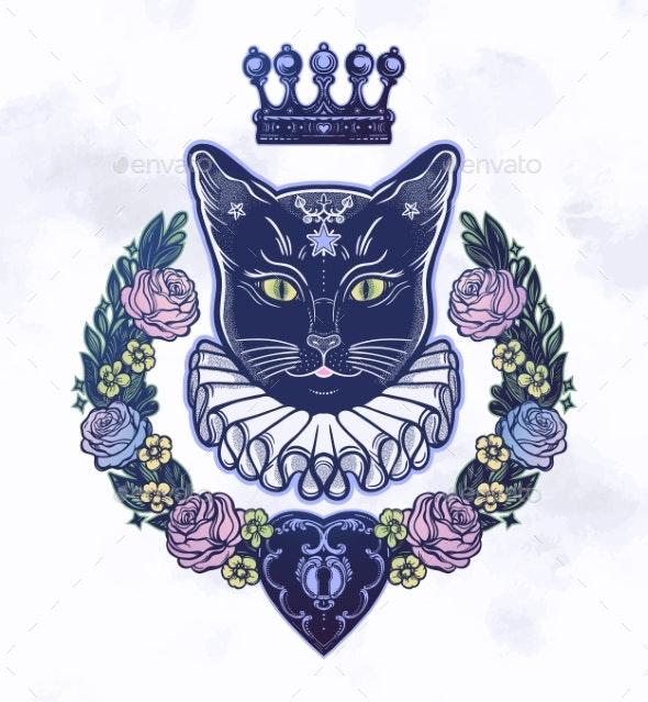 Black Cat Silhouette Portrait - Backgrounds Decorative