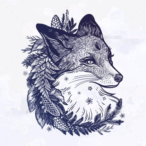 A Fox with a Wreath of Coniferous Forest Plants