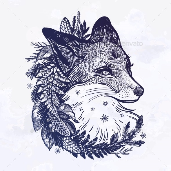 A Fox with a Wreath of Coniferous Forest Plants - Animals Characters
