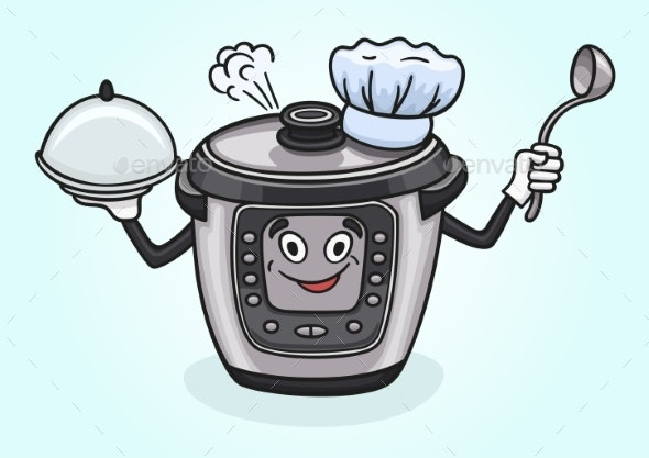 Cartoon Multicooker Prepared for the Next Portion - Food Objects