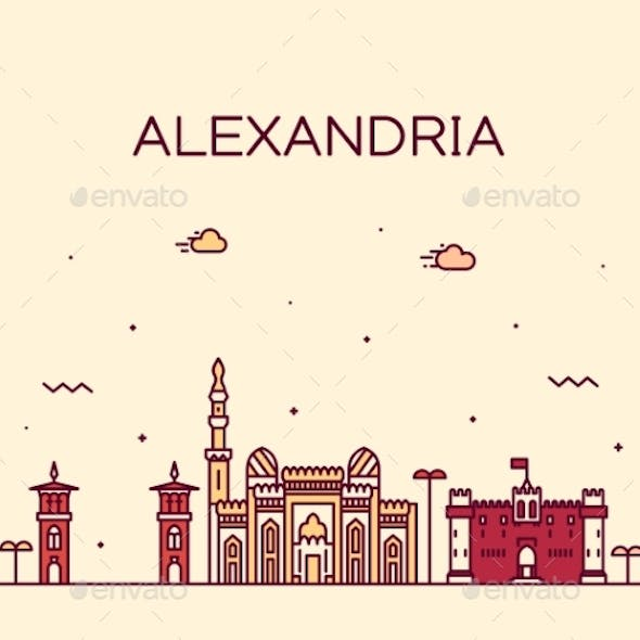 Alexandria Skyline Egypt Vector Drawn Linear Style