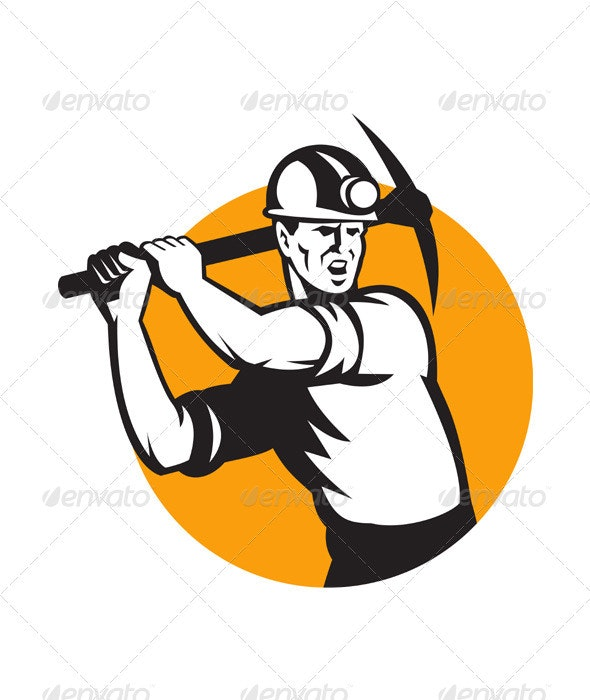 Coal Miner Working Pick Ax Retro - Industries Business