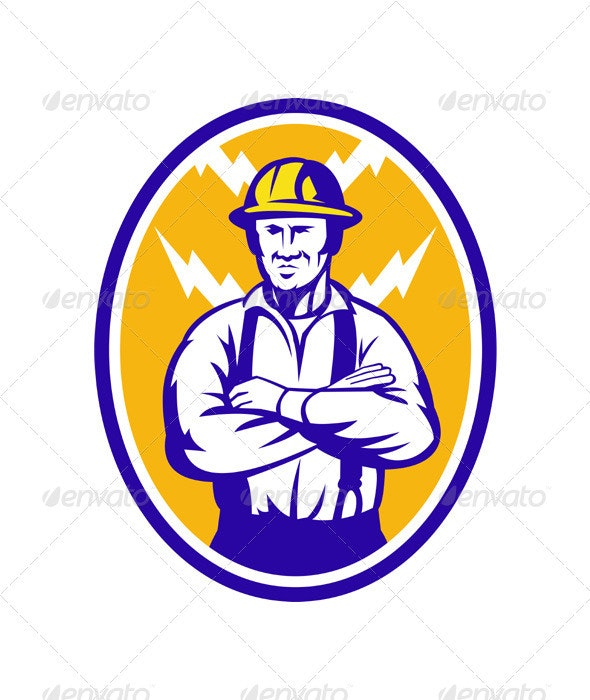 Electrician Construction Worker Lightning Bolt - Industries Business