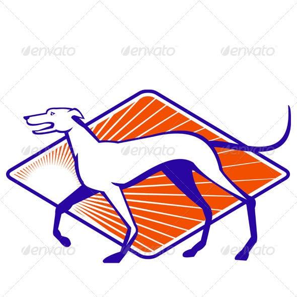Greyhound Dog Walking Side Retro