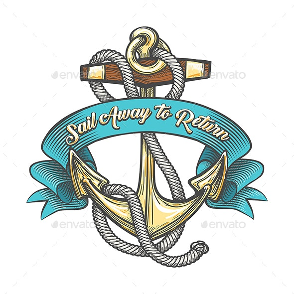 Anchor with Ropes and Ribbon Tattoo Illustration - Tattoos Vectors
