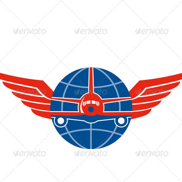 Jumbo Jet Plane Front Wings Globe