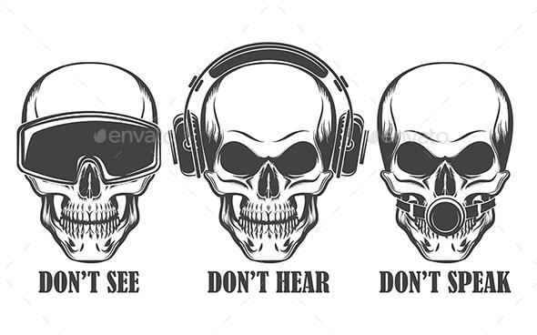 Three Human Skulls in Headphones, Virtual Reality Headset and Ball Gag - Tattoos Vectors