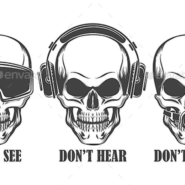 Three Human Skulls in Headphones, Virtual Reality Headset and Ball Gag