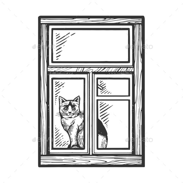 Domestic Cat Looking Out Window Sketch Engraving - Animals Characters