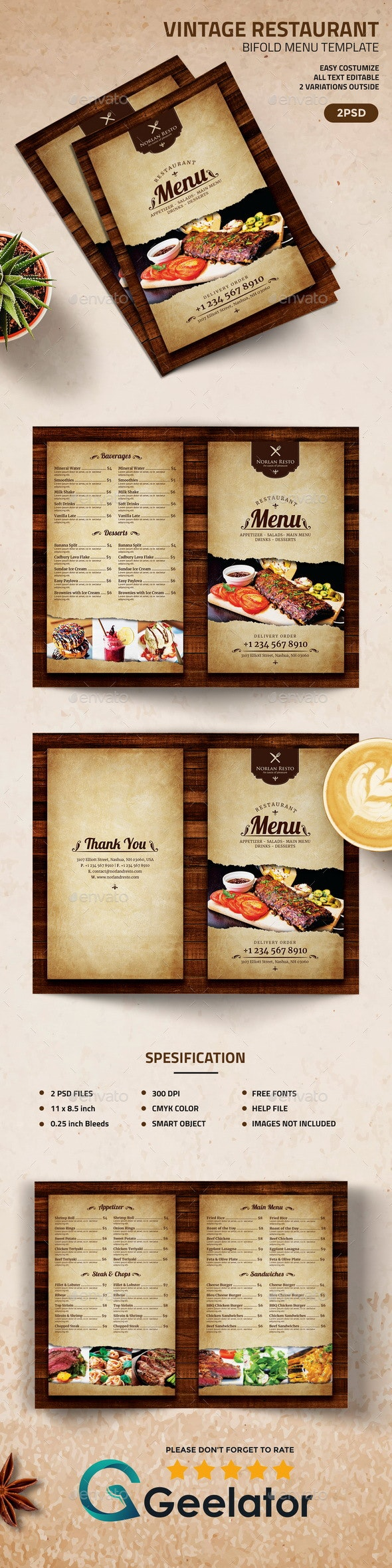 Vintage Restaurant  BiFold Menu Template - Food Menus Print Templates