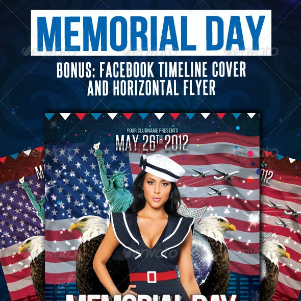 Memorial Day Flyer Vertical, Horizontal + Timeline