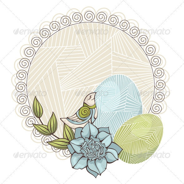 Card With Bird And Eggs - Borders Decorative