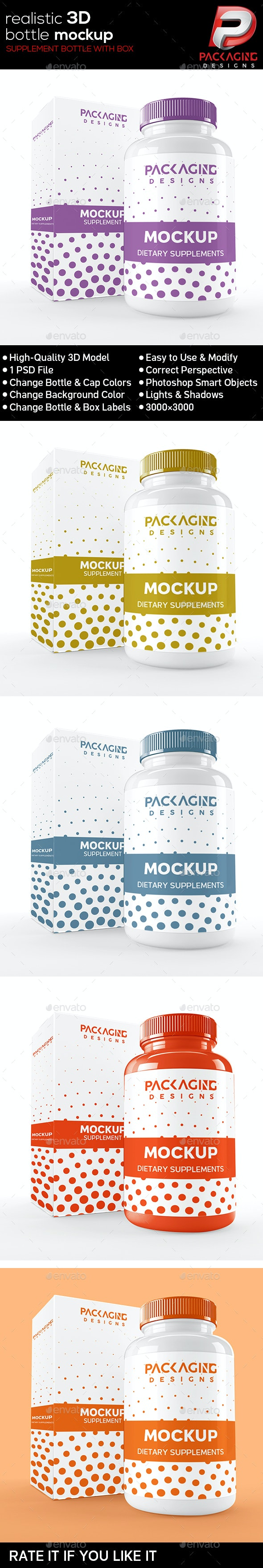 Realistic 3D Supplement Bottle with Box  Mock-Up-1 - Product Mock-Ups Graphics