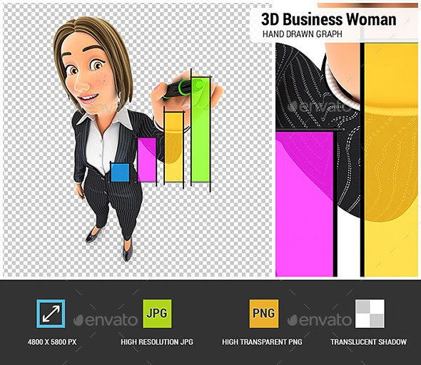 3D Business Woman Hand Drawn Graph - Characters 3D Renders