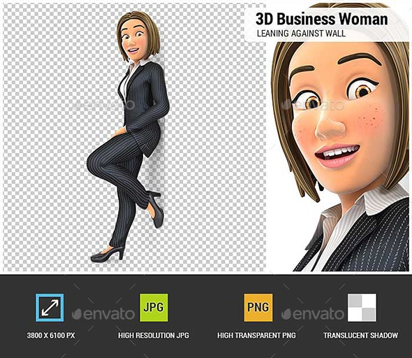 3D Business Woman Leaning Against the Wall - Characters 3D Renders