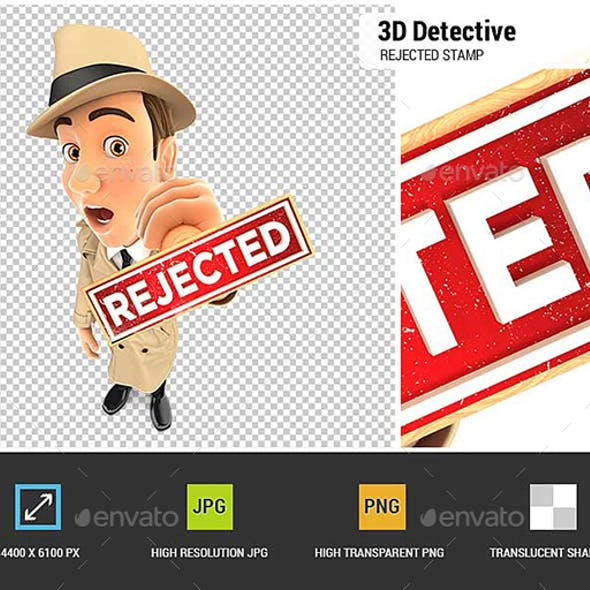 3D Detective Rejected Stamp