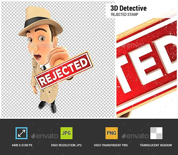 3D Detective Rejected Stamp - Characters 3D Renders
