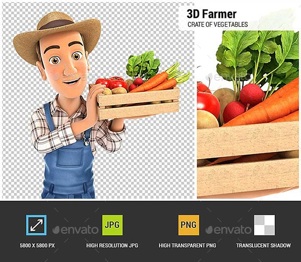 3D Farmer Holding Crate of Vegetables - Characters 3D Renders