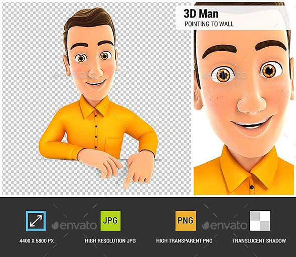 3D Man Pointing to Empty Wall - Characters 3D Renders