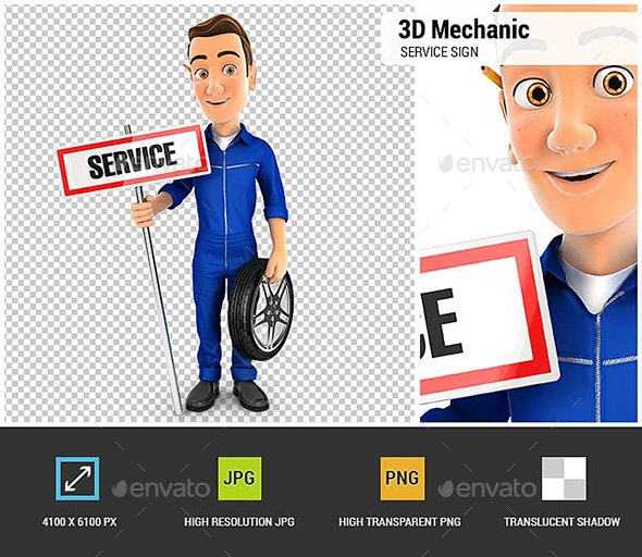 3D Mechanic with Service Sign and Wheel - Characters 3D Renders