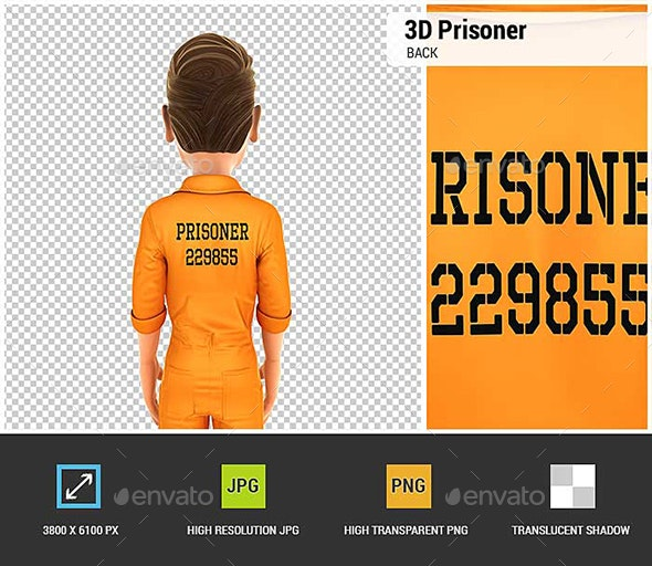 3D Prisoner Back - Characters 3D Renders