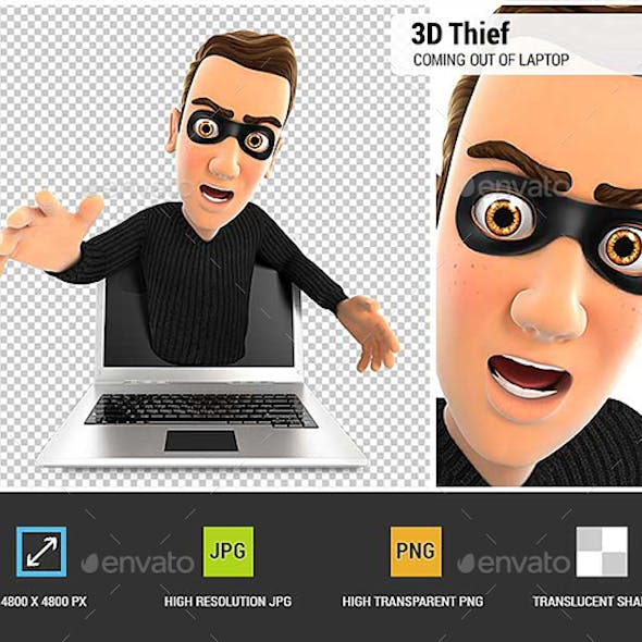 3D Thief Coming Out of Laptop