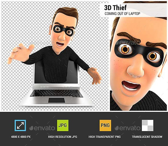 3D Thief Coming Out of Laptop - Characters 3D Renders