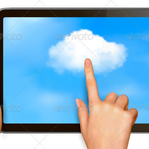 Cloud Computing Concept Finger Touching Cloud
