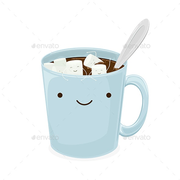 Marshmallow Floats in a Cup of Coffee - Food Objects