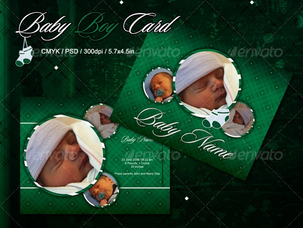 Green Baby Boy Card - Family Cards & Invites