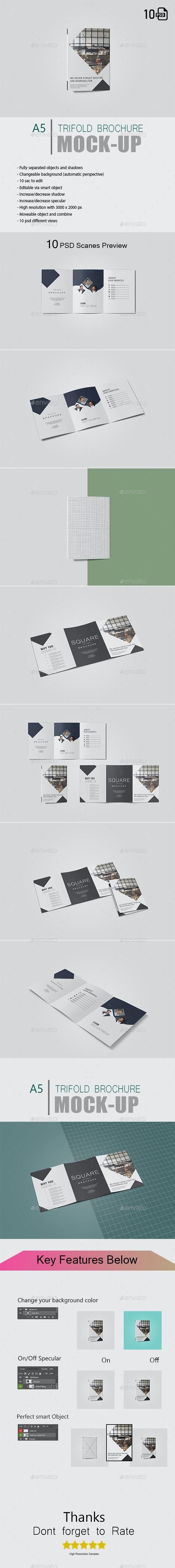 A5 Trifold Brochure Mockup - Brochures Print