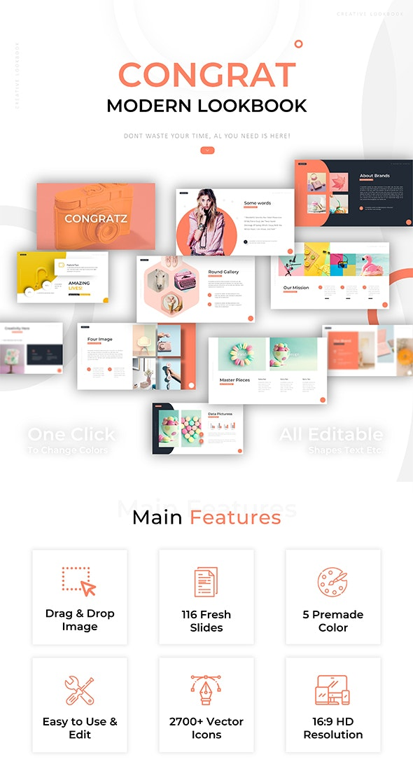 Congrat Lookbook Modern Powerpoint - Creative PowerPoint Templates